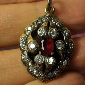 Jewelry - Old World Sterling Silver Red Clear Stone Pendant